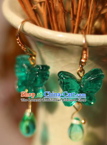 Traditional Chinese Handmade Green Butterfly Earrings Ancient Ear Accessories for Women