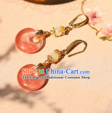Traditional Chinese Handmade Ancient Pink Peace Buckle Earrings Accessories for Women