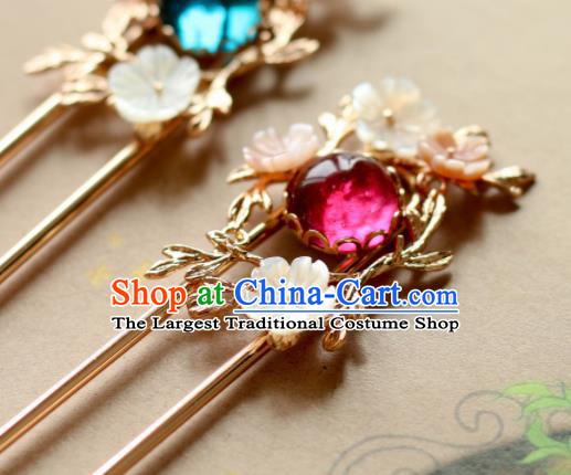 Chinese Traditional Handmade Shell Flowers Hair Clip Hair Accessories Ancient Hairpins for Women