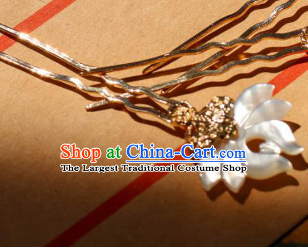 Chinese Traditional Handmade Shell Lotus Hair Clip Hair Accessories Ancient Hairpins for Women