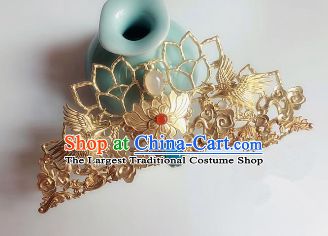 Handmade Chinese Ancient Hair Accessories Lotus Hair Comb Queen Hanfu Hairpins Headwear for Women