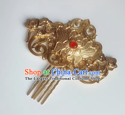 Handmade Chinese Ancient Hair Accessories Golden Hair Comb Queen Hanfu Hairpins Headwear for Women