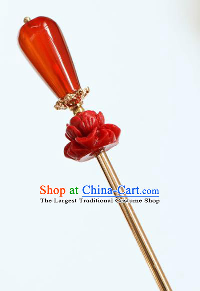 Chinese Traditional Handmade Red Lotus Hair Clip Hair Accessories Ancient Agate Hairpins for Women