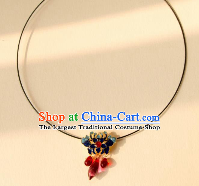 Traditional Chinese Handmade Ancient Blueing Necklace Accessories for Women