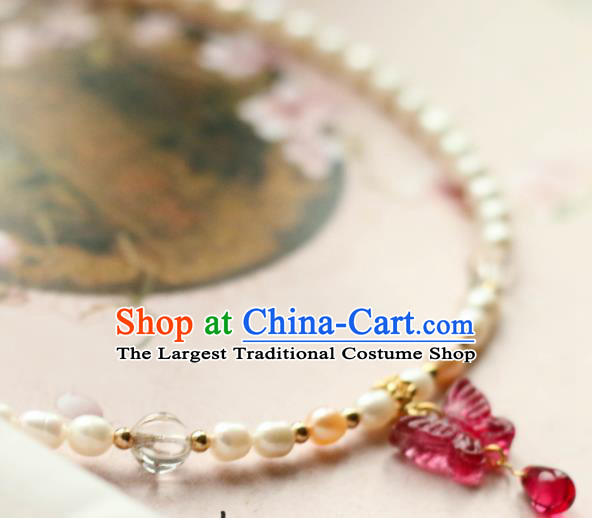 Traditional Chinese Handmade Pearls Necklace Ancient Red Butterfly Necklet Accessories for Women