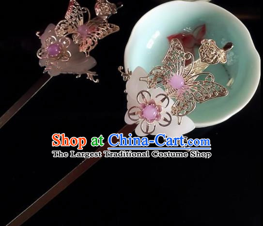 Chinese Handmade Ancient Princess Hair Accessories Hanfu Jade Butterfly Hairpins for Women