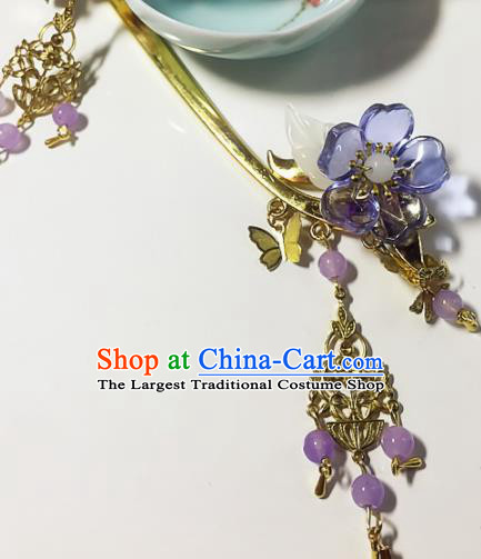 Chinese Handmade Ancient Palace Hair Accessories Hanfu Purple Flowers Hairpins for Women