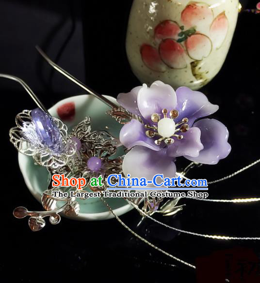 Chinese Handmade Ancient Palace Hair Accessories Hanfu Purple Flower Hairpins for Women