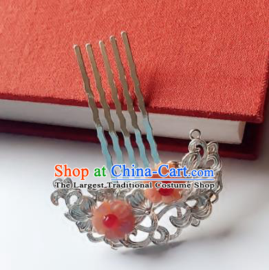 Chinese Handmade Ancient Pink Flowers Hair Comb Hair Accessories Hanfu Hairpins for Women