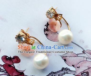 Chinese Ancient Hanfu Jewelry Accessories Traditional Pearl Earrings for Women