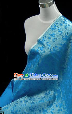 Asian Chinese Traditional Tang Suit Fabric Blue Satin Brocade Silk Material Classical Plum Blossom Bamboo Pattern Design Drapery