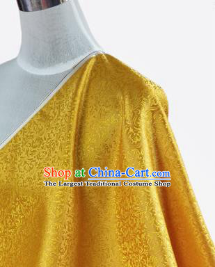 Asian Chinese Traditional Tang Suit Fabric Yellow Brocade Silk Material Classical Pattern Design Drapery