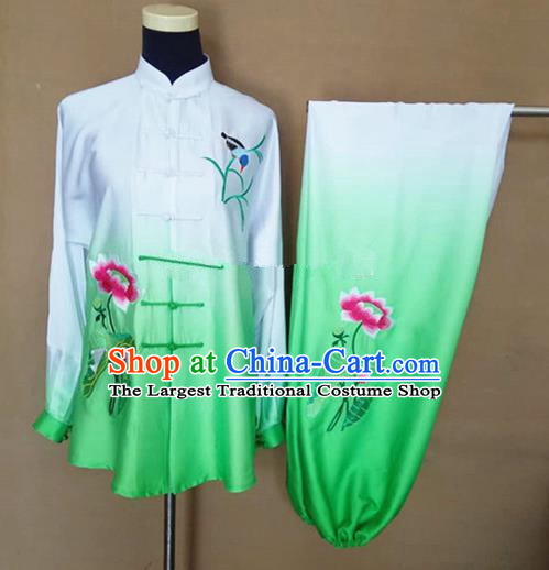 Chinese Traditional Martial Arts Embroidered Lotus Costumes Tai Chi Tai Ji Training Green Silk Clothing for Adults