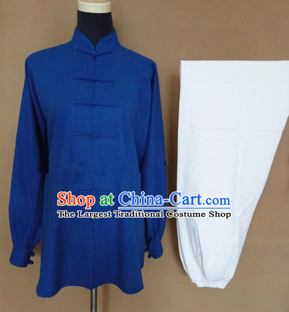 Chinese Traditional Martial Arts Linen Costumes Tai Chi Tai Ji Training Blue Shirt and White Pants for Adults
