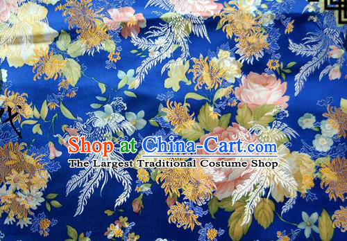 Asian Chinese Traditional Tang Suit Fabric Royalblue Brocade Silk Material Classical Peony Chrysanthemum Pattern Design Drapery