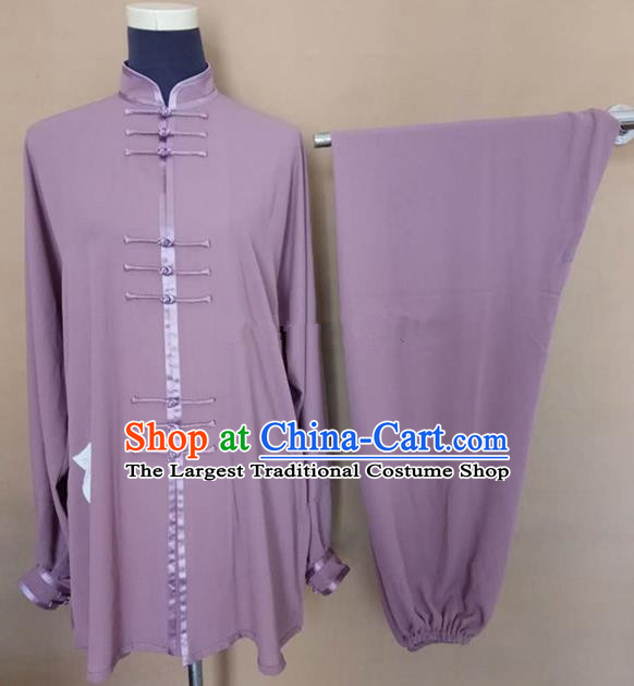 Chinese Traditional Kung Fu Martial Arts Costumes Tai Chi Training Purple Clothing for Women