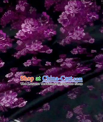 Asian Chinese Traditional Tang Suit Fabric Brocade Silk Material Classical Purple Flowers Pattern Design Drapery