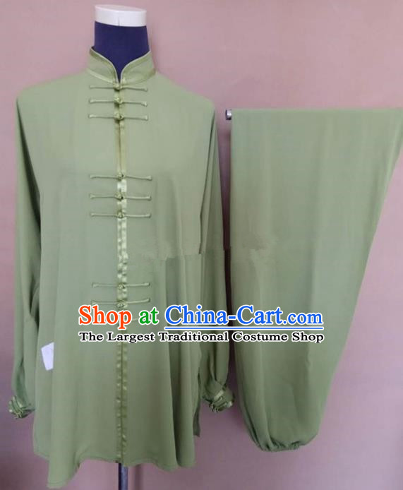 Chinese Traditional Kung Fu Martial Arts Costumes Tai Chi Training Green Clothing for Women