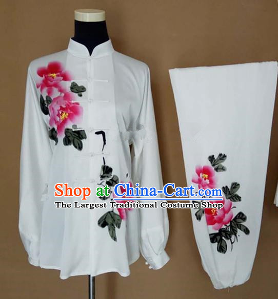 Chinese Traditional Kung Fu Martial Arts Printing Peony Costumes Tai Chi Training Clothing for Women