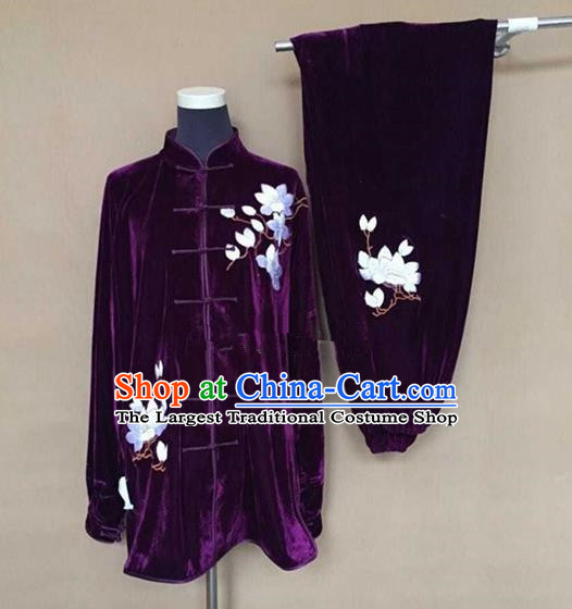 Chinese Traditional Kung Fu Martial Arts Purple Velvet Costumes Tai Chi Training Clothing for Women