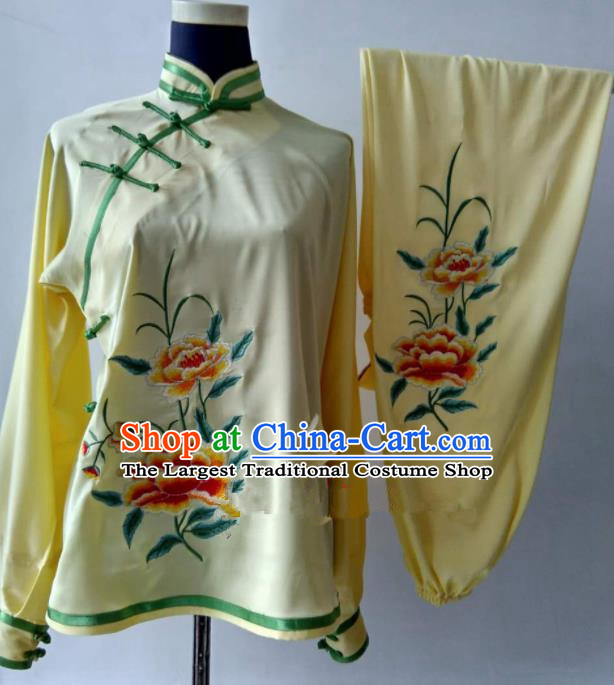 Chinese Traditional Kung Fu Martial Arts Embroidered Peony Yellow Costumes Tai Chi Training Clothing for Women