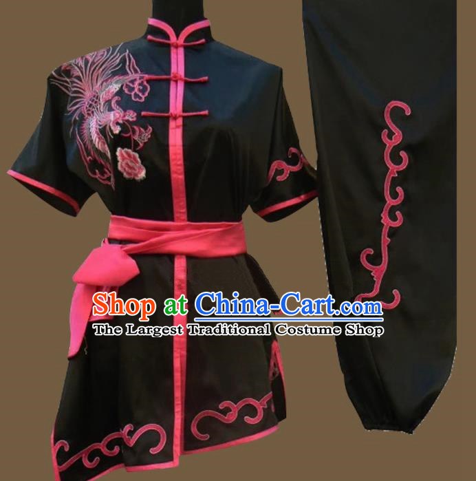 Chinese Traditional Kung Fu Martial Arts Embroidered Phoenix Black Costumes Tai Chi Training Clothing for Women