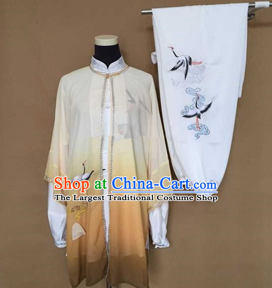 Chinese Traditional Martial Arts Black Costumes Tai Chi Kung Fu Training Embroidered Cranes Clothing for Adults
