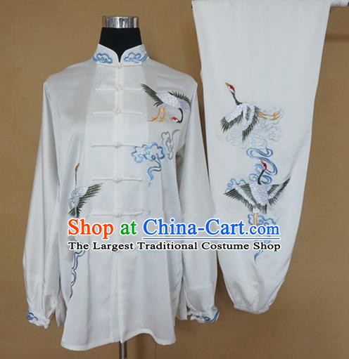 Chinese Traditional Martial Arts Costumes Tai Chi Kung Fu Training Embroidered Cranes Clothing for Adults