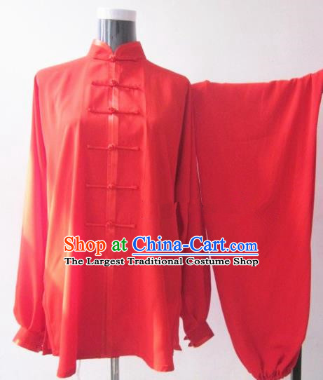 Chinese Traditional Kung Fu Red Costumes Martial Arts Tai Chi Training Clothing for Women