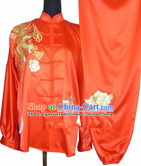 Chinese Traditional Kung Fu Embroidered Phoenix Peony Silk Costumes Martial Arts Tai Chi Training Clothing for Women