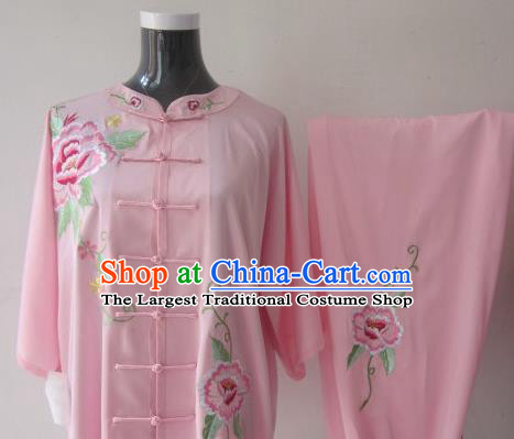 Chinese Traditional Kung Fu Embroidered Peony Pink Silk Costumes Martial Arts Tai Chi Training Clothing for Women