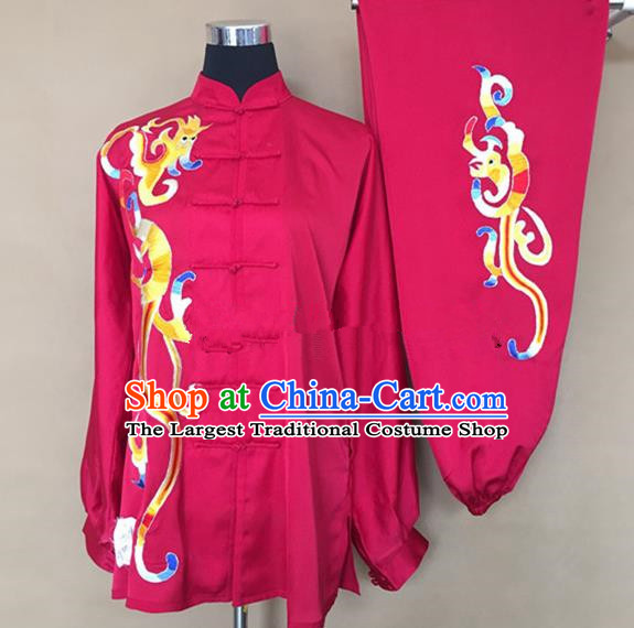 Chinese Traditional Kung Fu Embroidered Rosy Silk Costumes Martial Arts Tai Chi Training Clothing for Women