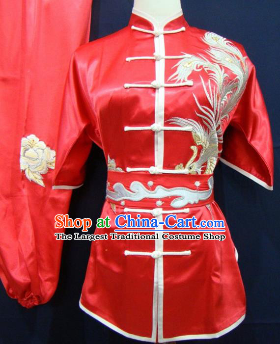 Chinese Traditional Kung Fu Embroidered Phoenix Red Silk Costumes Martial Arts Tai Chi Training Clothing for Women