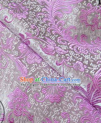 Asian Chinese Traditional Tang Suit Fabric Brocade Silk Material Classical Lilac Flowers Pattern Design Drapery