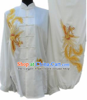 Chinese Traditional Kung Fu Silk Costumes Martial Arts Tai Chi Training Embroidered Phoenix Clothing for Women