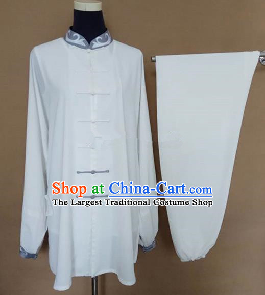 Chinese Traditional Martial Arts White Costumes Tai Chi Tai Ji Training Clothing for Adults