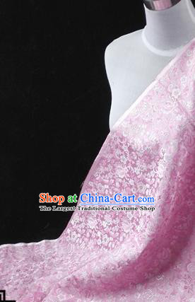 Asian Chinese Traditional Tang Suit Fabric Pink Brocade Silk Material Classical Plum Blossom Pattern Design Drapery