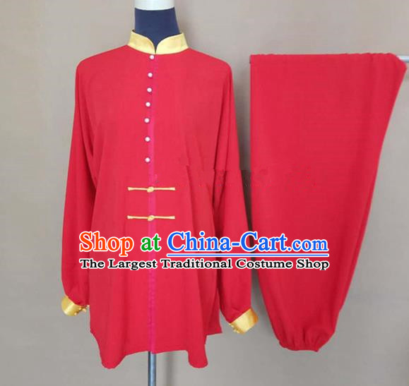 Chinese Traditional Martial Arts Red Silk Costumes Tai Chi Tai Ji Training Clothing for Adults