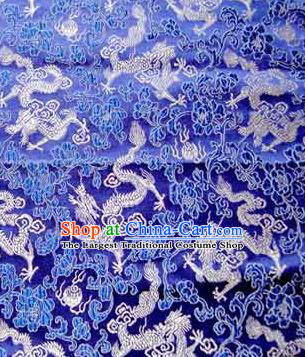 Asian Chinese Traditional Tang Suit Fabric Royalblue Brocade Silk Material Classical Dragons Pattern Design Drapery