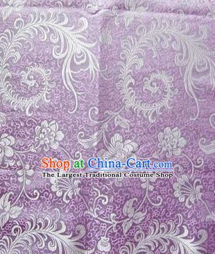 Asian Chinese Traditional Tang Suit Fabric Lilac Brocade Silk Material Classical Pattern Design Drapery