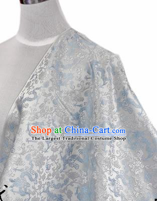 Asian Chinese Traditional Tang Suit Fabric White Brocade Silk Material Classical Dragons Pattern Design Drapery