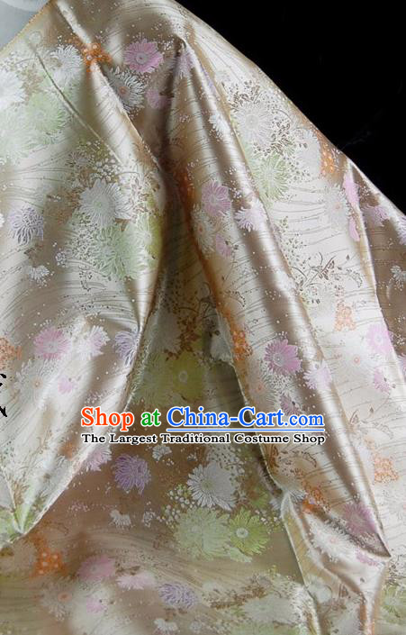 Asian Chinese Traditional Tang Suit Fabric Mud Golden Brocade Silk Material Classical Chrysanthemum Pattern Design Drapery