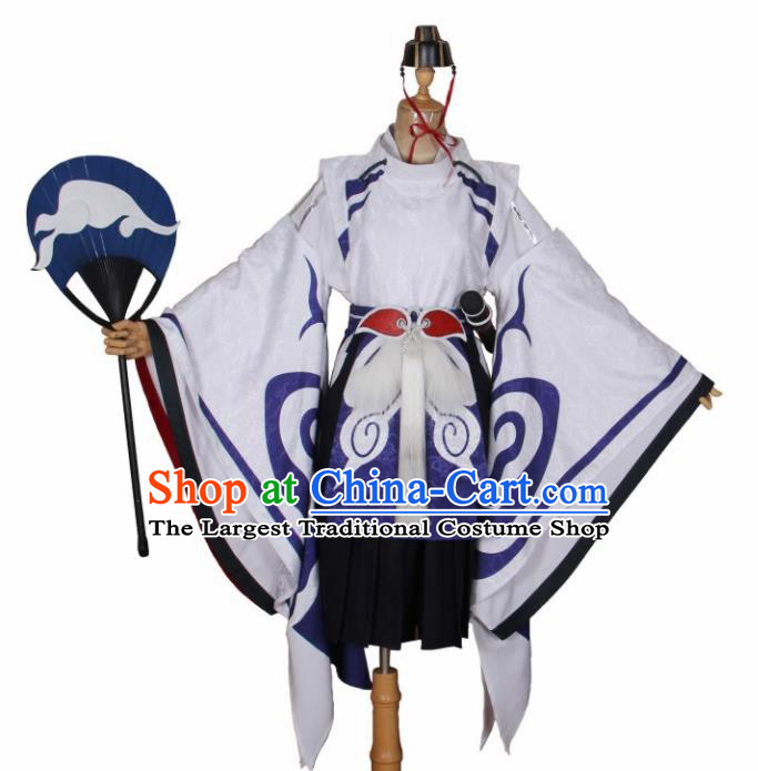 Asian Japanese Traditional Cosplay Costumes Ancient Onmyoji Swordsman Clothing for Men