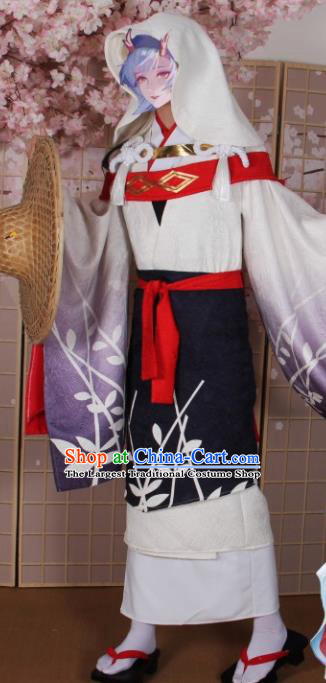 Asian Japanese Traditional Cosplay Costumes Ancient Kimono Swordswoman Clothing for Women