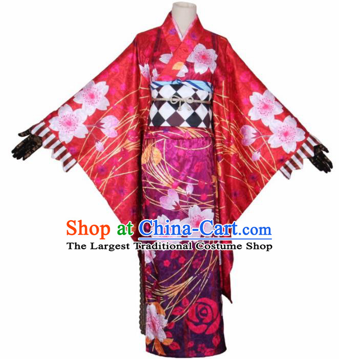 Asian Japanese Traditional Cosplay Costumes Ancient Yokime Printing Sakura Furisode Kimono Yukata Clothing for Women