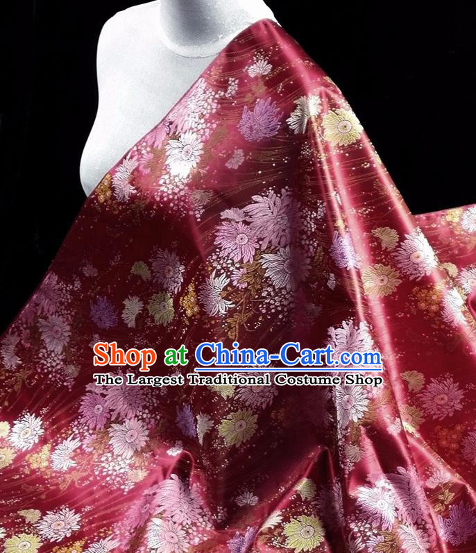 Asian Chinese Traditional Tang Suit Fabric Purplish Red Brocade Silk Material Classical Chrysanthemum Pattern Design Drapery