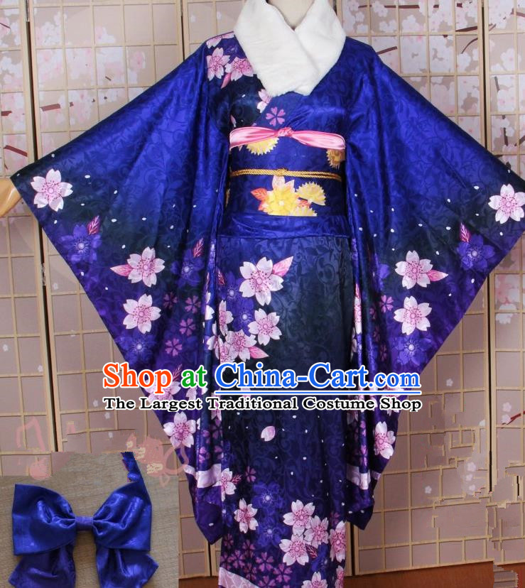 Asian Japanese Traditional Cosplay Costumes Ancient Yokime Blue Furisode Kimono Yukata Clothing for Women