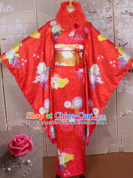 Asian Japanese Traditional Cosplay Costumes Ancient Yokime Red Furisode Kimono Yukata Clothing for Women