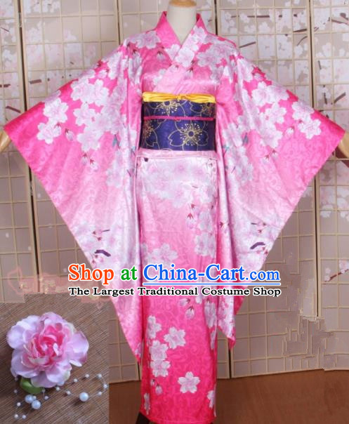 Asian Japanese Traditional Cosplay Costumes Ancient Yokime Pink Furisode Kimono Yukata Clothing for Women
