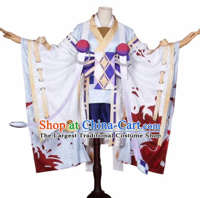 Asian Japanese Traditional Cosplay Yokime Costumes Ancient White Furisode Kimono Yukata Clothing for Women